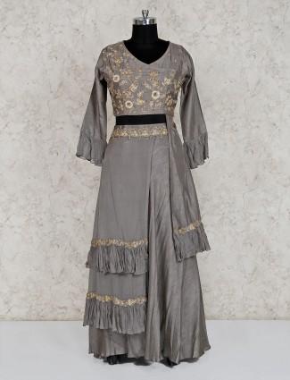 Designer grey georgette indo western salwar suit