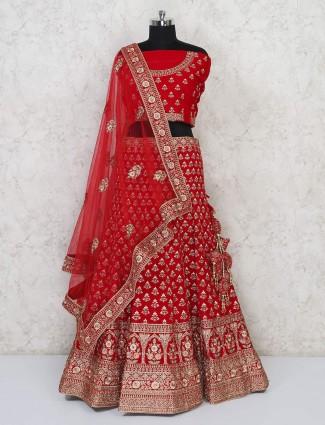 Designer latest red semi stitched bridal lehenga choli in silk