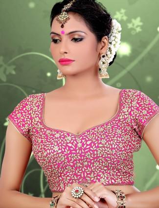 Designer magenta raw silk readymade blouse