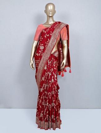 Designer maroon muga silk festive saree