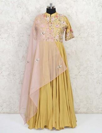 Designer mustard georgette wedding gown