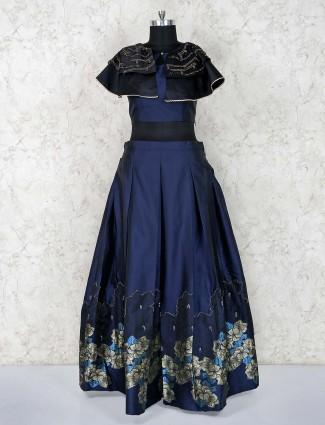 Designer navy blue lehenga choli in satin silk