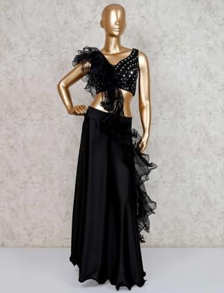 Designer palazzo suit in black