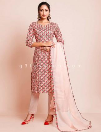 Designer peach cotton festive wear salwar suit