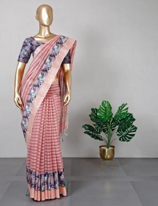 Designer peach handloom cotton saree for festive