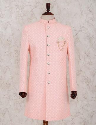 Designer peach wedding wear indo western