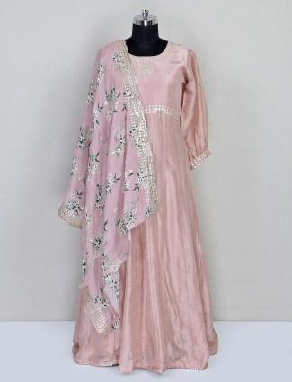 Designer pink anarkali salwar suit in silk