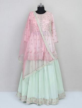 Designer pink and pista green wedding wear lehenga choli