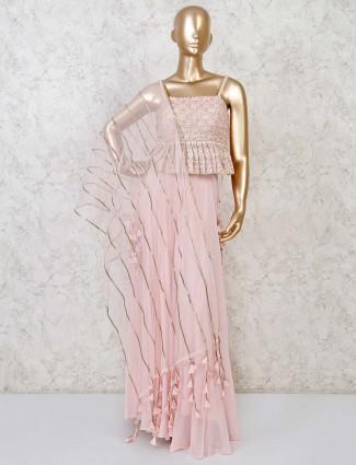 Designer pink georgette peplum sharara suit