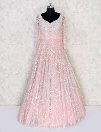 Designer pink net wedding wear gown