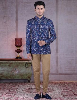 Designer printed blue terry rayon jodhpuri suit