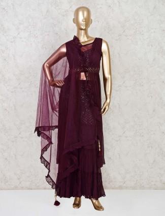 Designer purple georgette indo western sharara suit