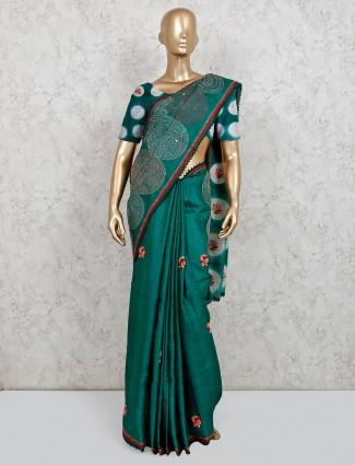 Designer rama green handloom cotton saree