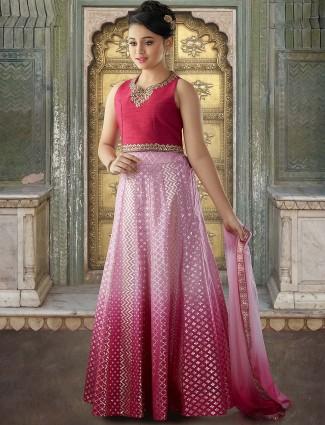 Designer red color raw silk lehenga choli