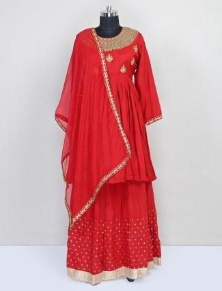 Designer red lehenga style salwar kameez for party