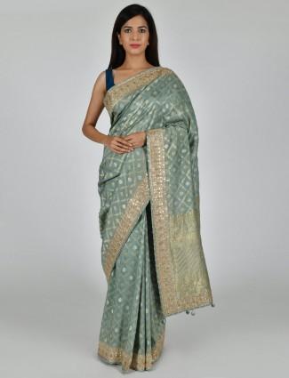 Designer sea green saree in tussar silk