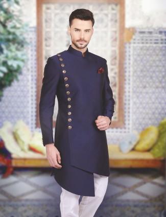Designer silk plain navy indo western