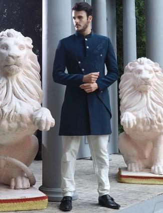 Designer solid navy color terry rayon indo western