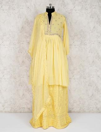 Designer yellow georgette lehenga suit