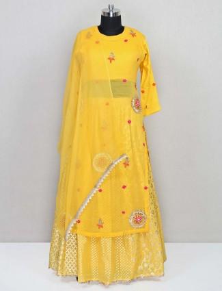 Designer yellow georgette salwar kameez