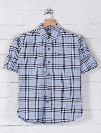 DNJS sky blue checks slim fit shirt