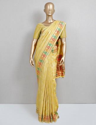 dola silk saree in yellow