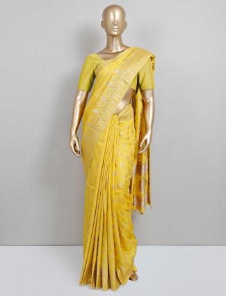 dola silk yellow wedding wear saree