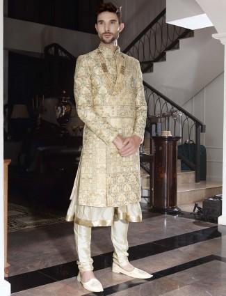 Double layer beige designer raw silk anarkali sherwani