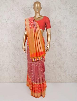 Dusty pink reception wear saree