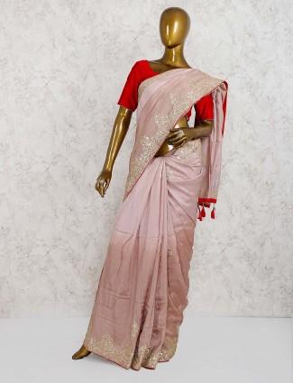 Dusty pink sari in semi silk