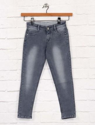 EBONY深灰色纯色牛仔裤
