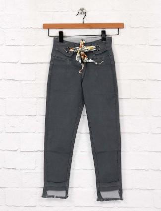 EBONY denim fabric greu hue solid jeans