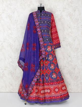 Elegant blue anarkali salwar suit in cotton silk