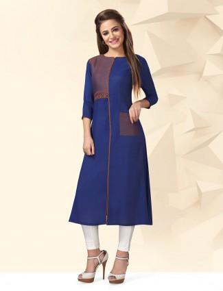 Elegant blue cotton casual kurti
