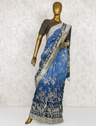 Elegant blue festive saree in semi silk