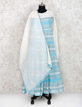 Elegant blue festive wear long printed salwar suit