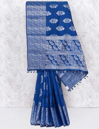 Elegant blue festive wear saree