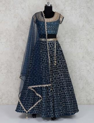 Elegant blue lehenga choli in georgette fabric