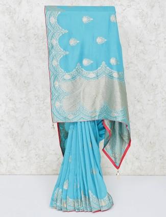 Elegant blue party wear silk saree