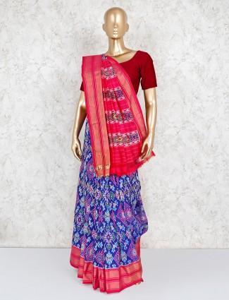 Elegant blue patola silk saree for wedding