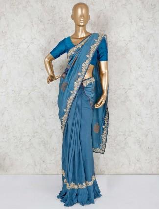 Elegant embroidery blue pure silk designer saree