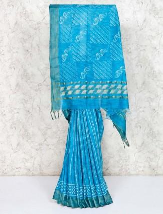 Elegant printed blue saree in cotton