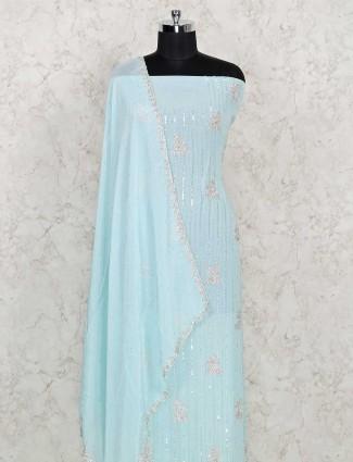 Embellished cotton dress material in sky blue color