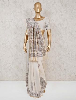 Embroidered cream cotton festive wear sari