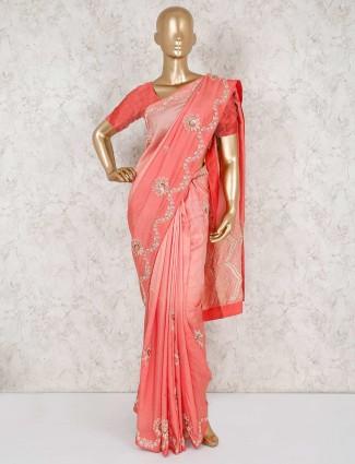 Embroidered pretty peach pure silk saree