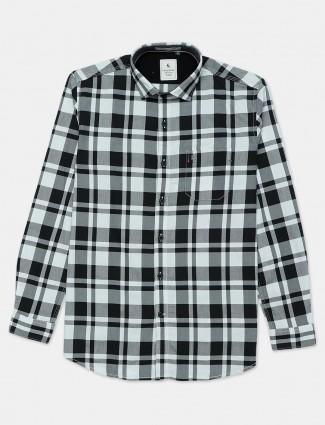 Eqiq black and white checks shirt in cotton