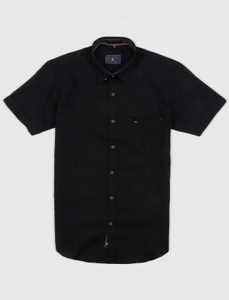 EQIQ black colored solid cotton shirt