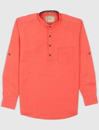 EQIQ casual orange hue cotton shirt