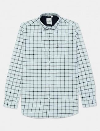 Eqiq checks white cotton shirt for mens