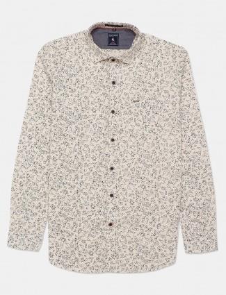 Eqiq cream printed casual shirt for mens